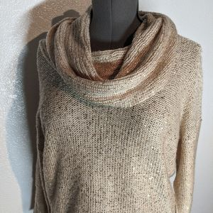 Roz & Ali Cowl Neck Gold Sequin Knit Sweater